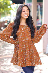 Camel - Polka Dot Tiered Blouse from Dress Up