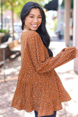 Polka Dot Tiered Blouse Side View