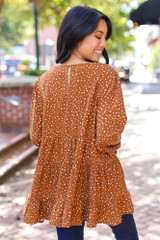 Polka Dot Tiered Blouse Back View