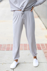 Grey - Soft Knit Joggers