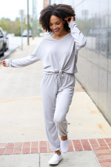 Model wearing grey Soft Knit Joggers with the matching top