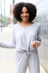 Model wearing a Soft Knit Knotted Top
