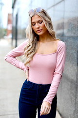 Square Neck Bodysuit in Blush