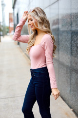 Square Neck Bodysuit in Blush Side View