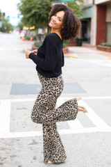 High-Rise Leopard Flare Jeans Side View