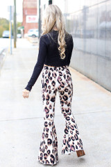 High-Rise Leopard Flare Jeans Back View