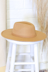 Flat Lay of a Wide Brim Banded Fedora Hat in Kahaki