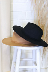 Flat Lay of 2 Wide Brim Banded Fedora Hats