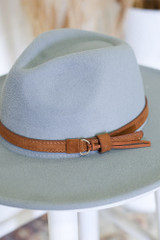 Wide Brim Buckle Fedora Hat from Dress Up in Grey