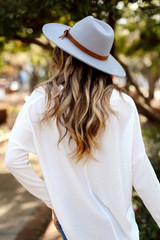 Grey - Wide Brim Buckle Fedora Hat from Dress Up