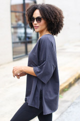 Charcoal - Basic Oversized Tee Side View