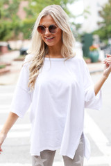 White - Dress Up model wearing a Basic Oversized Tee