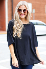 Black - Dress Up model wearing a Basic Oversized Tee with skinny jeans
