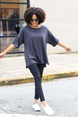 Basic Oversized Tee in Charcoal Front View