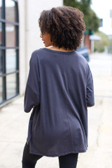 Basic Oversized Tee in Charcoal Back View
