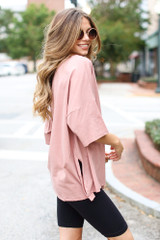 Blush - Basic Oversized Tee in Blush Side View