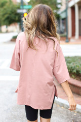Basic Oversized Tee in Blush Back View