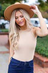 Taupe - Model wearing a Ribbed Knit Bodysuit