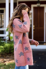 Model wearing a Brushed Knit Star Cardigan from Dress Up