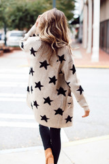 Brushed Knit Star Cardigan Back View