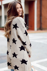 Brushed Knit Star Cardigan Side View