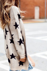 Taupe - Brushed Knit Star Cardigan from Dress Up