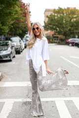 Grey - High-Rise Star Flare Jeans
