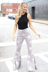 Grey - Dress Up model wearing High-Rise Star Flare Jeans
