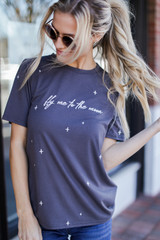 Charcoal - Fly Me To The Moon Graphic Tee from Dress Up