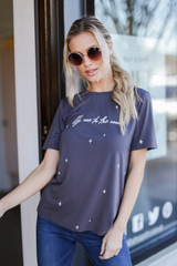 Dress Up model wearing the Fly Me To The Moon Graphic Tee