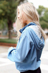 Hooded Denim Pullover Side View
