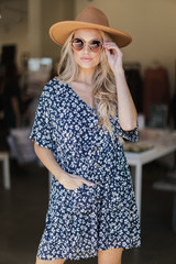 Navy - Button Front Babydoll Dress