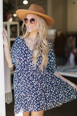 Navy - Button Front Babydoll Dress from Dress Up