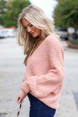 Sweater Cardigan in Blush Side View