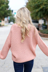 Sweater Cardigan in Blush Back View