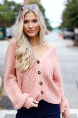 Blush - Model wearing a Sweater Cardigan