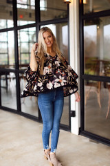 Full view of black floral top