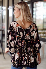 Back view of floral top perfect for Thanksgiving