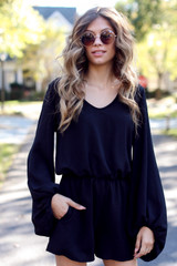Black - Dress Up model wearing a Balloon Sleeve Romper