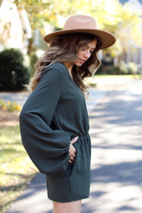 Balloon Sleeve Romper in Olive Side View