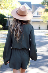 Balloon Sleeve Romper in Olive Back View