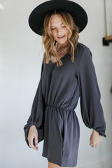 Balloon Sleeve Romper in Charcoal Side View