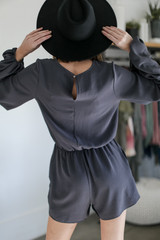 Balloon Sleeve Romper in Charcoal Back View