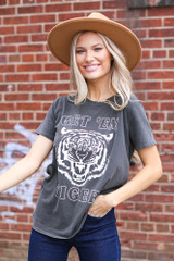 Dress Up model wearing the Get 'Em Tiger Graphic Tee