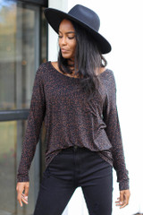 Leopard Oversized Front Pocket Tee Front View