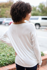 Oversized Front Pocket Top in White Back View