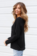 Oversized Front Pocket Top in Black Side View
