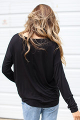 Oversized Front Pocket Top in Black Back View