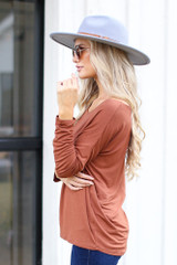 Oversized Front Pocket Top in Camel Side View