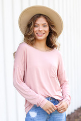Blush - Oversized Front Pocket Top from Dress Up
